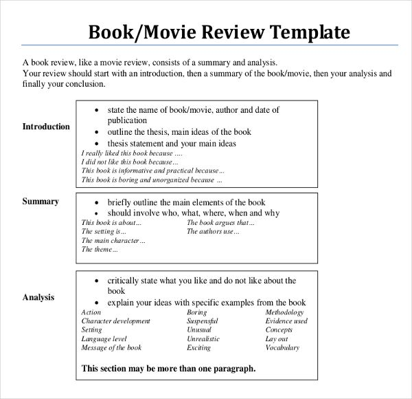 how to write a formal book review